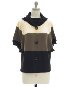 Button Cowl Neck Sweater - Ivory Taupe