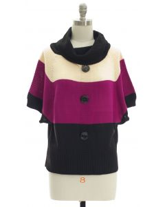 Button Cowl Neck Sweater - Ivory Purple