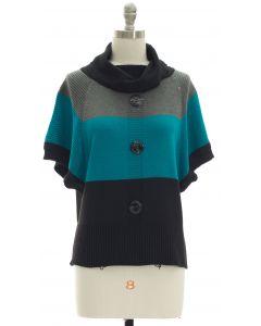 Button Cowl Neck Sweater - Grey Jade