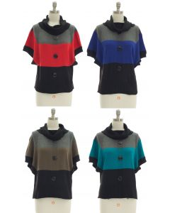 Button Cowl Neck Sweater - Assorted