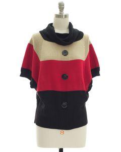 Button Cowl Neck Sweater - Cream Burgundy