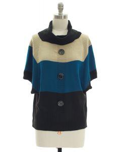 Button Cowl Neck Sweater - Cream Blue