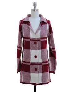 Checker Knit Coat - Wine
