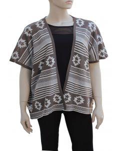 Plus. Tribal Pattern Cardigan - Taupe