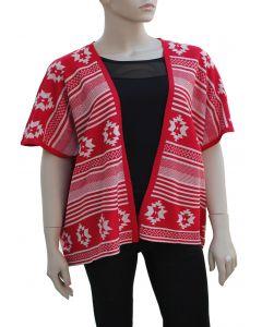 Plus. Tribal Pattern Cardigan - Red