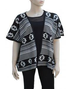 Plus. Tribal Pattern Cardigan - Black