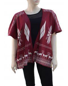Plus. Reindeer Pattern Cardigan - Wine
