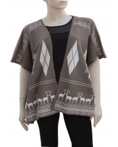 Plus. Reindeer Pattern Cardigan - Taupe