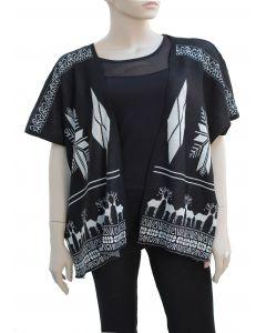 Plus. Reindeer Pattern Cardigan - Black