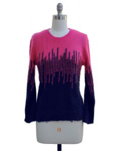 Colorblock Eyelash Sweater - Navy/Hot Pink