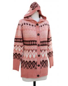 Hooded Sweater Coat - Pink