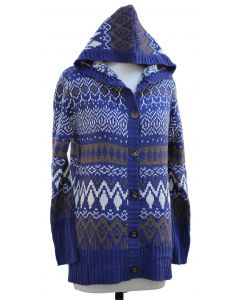 Hooded Sweater Coat - Blue