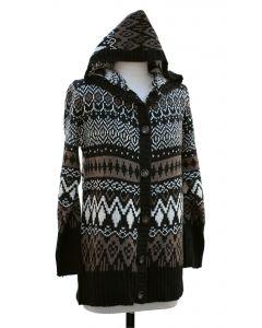 Hooded Sweater Coat - Black