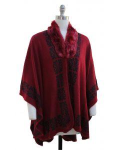 Ornate Faux Fur Collar Cape - Wine