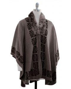 Ornate Faux Fur Collar Cape - Taupe