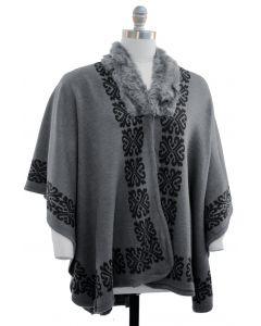 Plus. Ornate Faux Fur Collar Cape - Charcoal