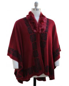 Plus. Ornate Faux Fur Collar Cape - Wine