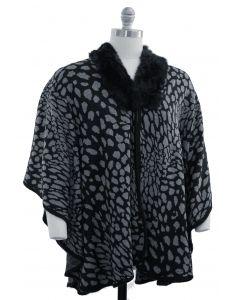 Plus. Leopard Faux Fur Collar Cape - Black