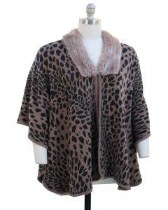 Plus. Leopard Faux Fur Collar Cape - Taupe