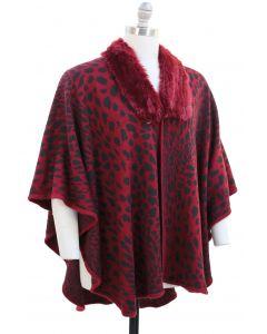 Plus. Leopard Faux Fur Collar Cape - Wine