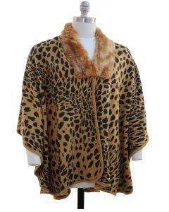 Plus. Leopard Faux Fur Collar Cape - Camel