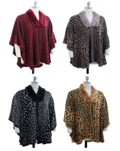 Plus. Leopard Faux Fur Collar Cape - Asst