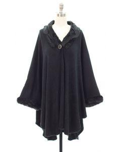 Faux Fur Inset Cape - Black