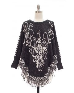 Sweater Knit Floral Fringe Poncho w Sleeves - Black