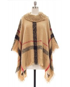 Plaid Checker Cowl Neck Poncho - Khaki