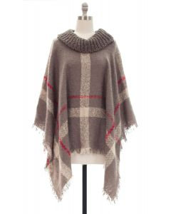 Plaid Checker Cowl Neck Poncho - Grey