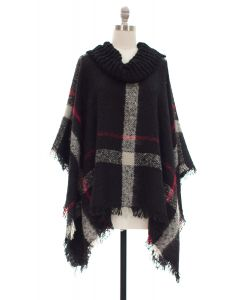 Plaid Checker Cowl Neck Poncho - Black