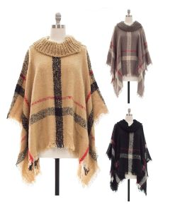 Plaid Checker Cowl Neck Poncho - Assorted