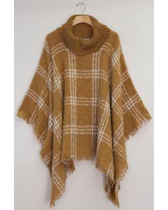 Solid Plaid Cowl Neck Poncho - Camel