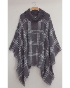 Solid Plaid Cowl Neck Poncho - Grey