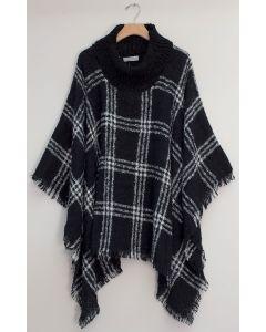 Solid Plaid Cowl Neck Poncho - Black