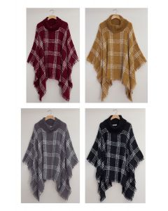 Solid Plaid Cowl Neck Poncho - Assorted
