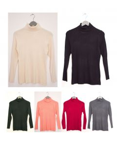 Turtleneck Ribbed Sweater - Assorted