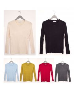 Scallop Neck Ribbed Sweater - Assorted