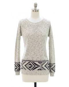 Marled Long Sleeve Border Tribal Sweater - White