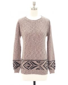 Marled Long Sleeve Border Tribal Sweater - Taupe