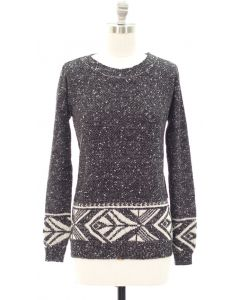 Marled Long Sleeve Border Tribal Sweater - Black