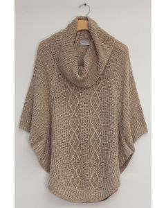 Cowl Cable Knit Sweater - Taupe
