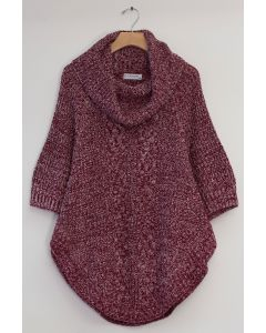 Cowl Cable Knit Sweater - Burgundy