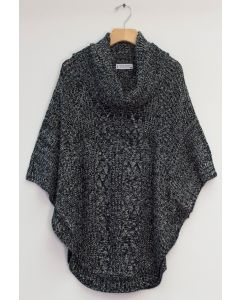 Cowl Cable Knit Sweater - Black