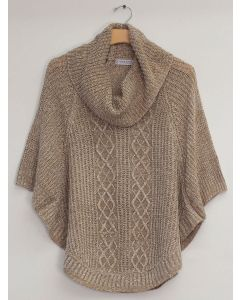 Plus Cowl Cable Knit Sweater - Khaki