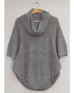 Plus Cowl Cable Knit Sweater - Grey