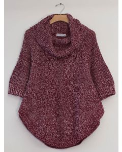 Plus Cowl Cable Knit Sweater - Burgundy