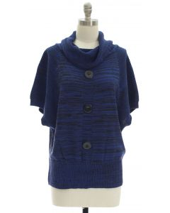 Marled Button Cowl Neck Sweater - Blue