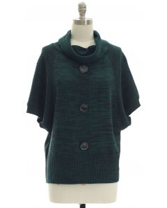 Marled Button Cowl Neck Sweater - Hunter Green