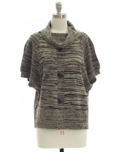 Marled Button Cowl Neck Sweater - Taupe